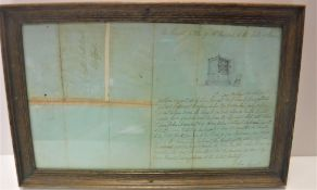 """A framed and glazed letter from Sir Walter Scott relating to """"The Dutch Wardrobe/Cabinet"""", dated"""