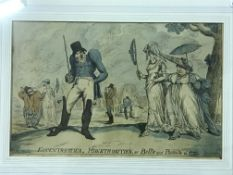 """PAUL PRY """"Eccentricities, Monstrosities or Bell's and Beau's of 1799 colour etching"""", published July"""