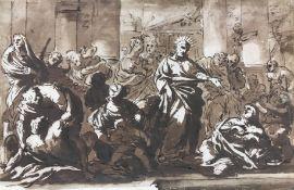 "CIRCLE OF PIOLA DOMENICO (Geneva 1627-1703) ""Christ healing the sick"", pen and ink and sepia wash"