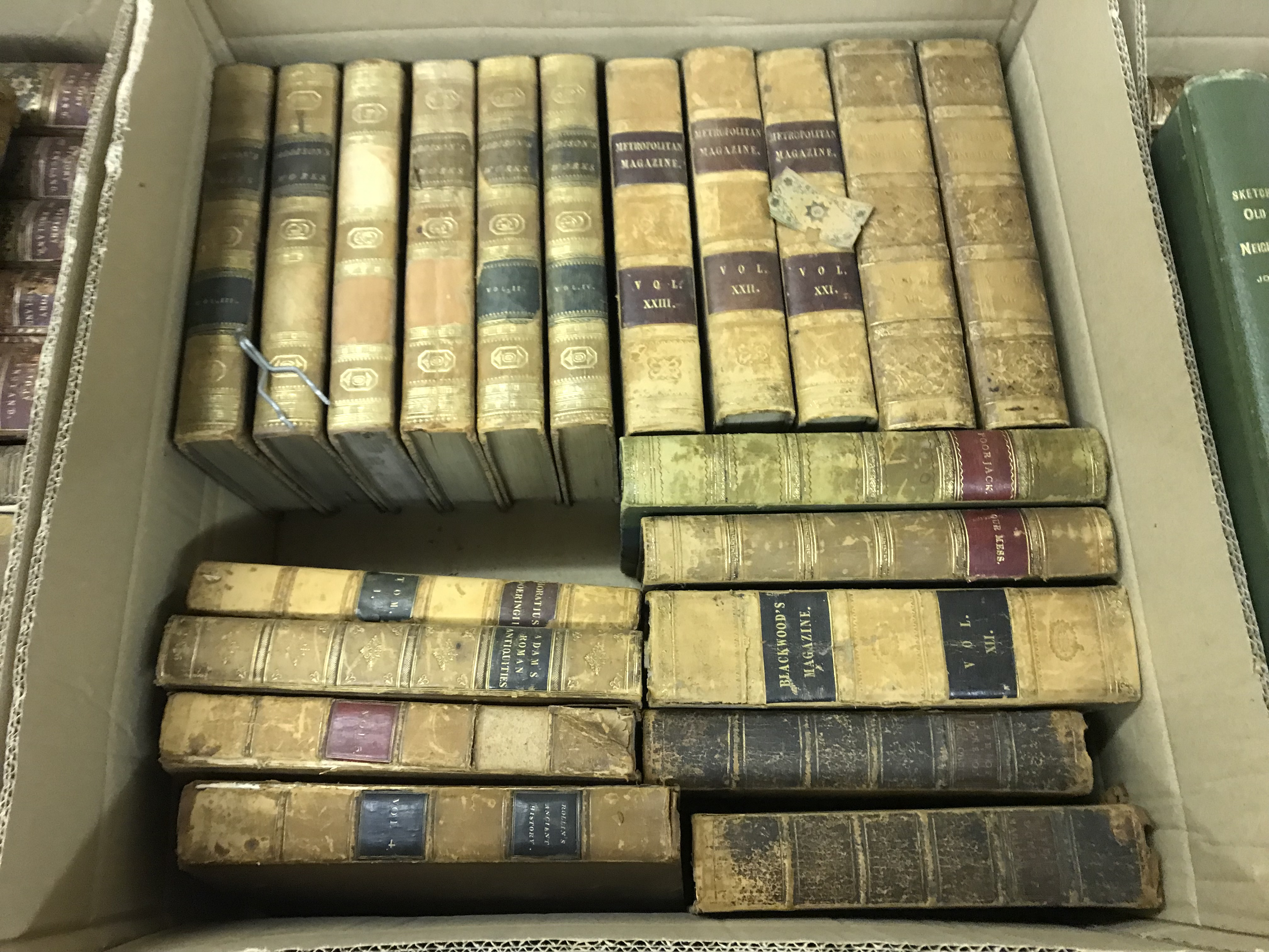 """Two boxes of antiquarian books to include RICHARD HURD """"The Works of the Right Hon Joseph"""