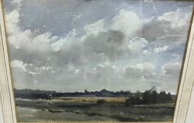 """GEOFFREY LEFEVRE """"North Norfolk landscape with church and windmill in the background"""","""
