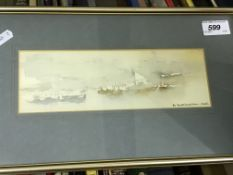 """CHESTER WILLIAMS """"Dubai"""" watercolour study, signed and dated '76 lower right image size 8 cm x 24 cm"""