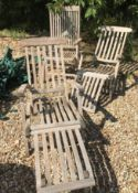 A collection of five various modern teak slatted garden chairs together with a modern teak