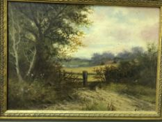 """DAVIS """"Rural landscape with river"""" oil on canvas, signed lower right together with a similar work by"""