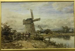 """JOHN SYER """"Windmill on pond with cattle in background, two figures by fence in foreground"""","""