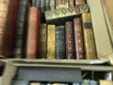 """A box of antiquarian leather bound books to include JOHN RUSKIN """"The Stones of Venice"""" , ROBERT"""