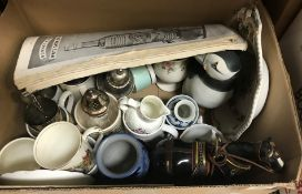 A box of assorted china wares to include a Royal Worcester transfer decorated mask jug, Royal
