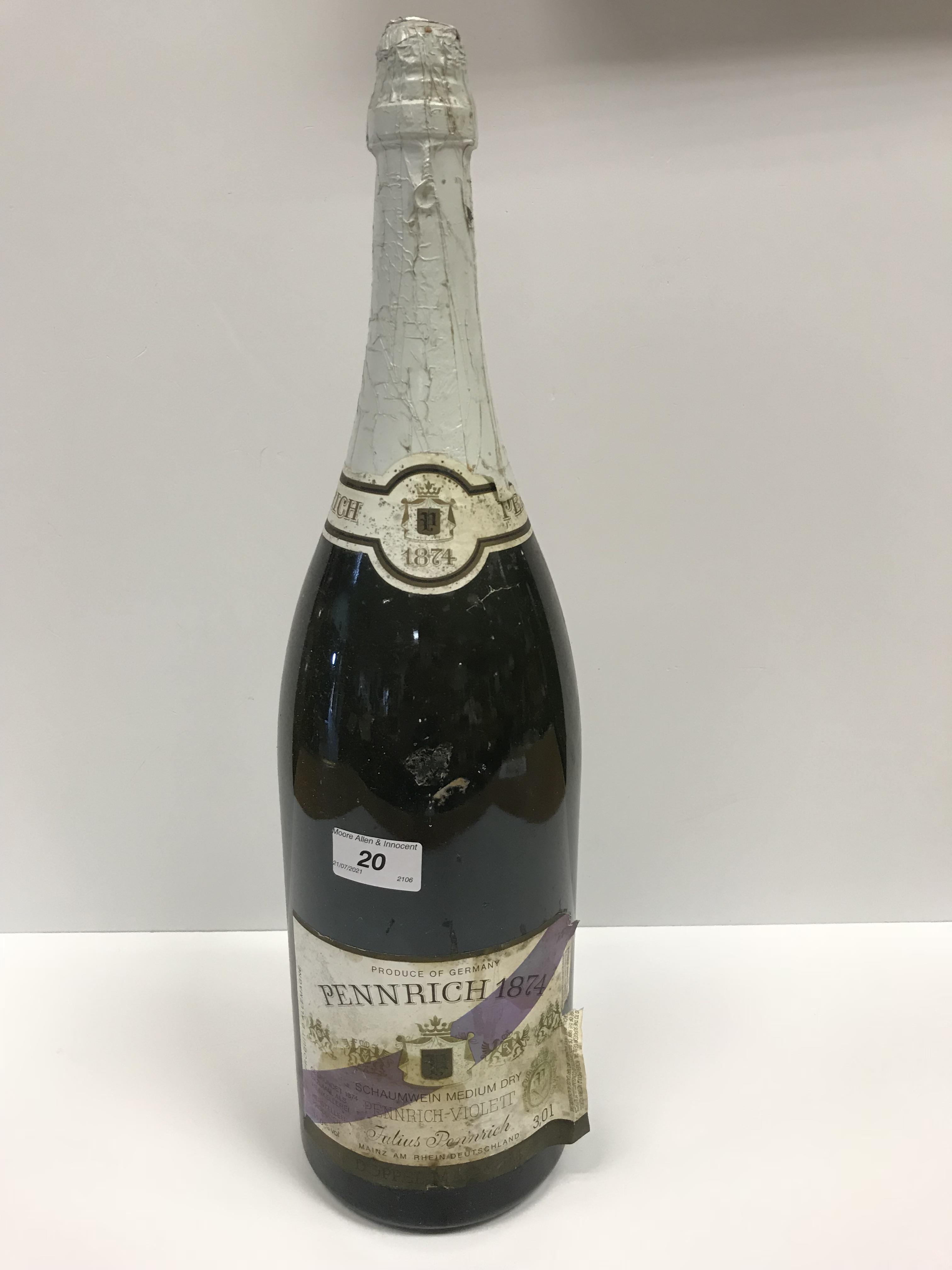 "Pennrich 1874 German Medium Dry White Wine ""Penrich Violett"", double magnum, 3 litre - Image 2 of 2"