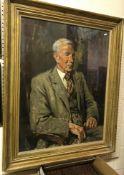 "EDWARD BRIAN SEAGO (1910-1974) ""W. A. Lincoln"", a portrait study, half length, seated, oil on"