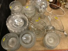 A collection of various cut and other glassware to include a pair of lustre type table lamps, two