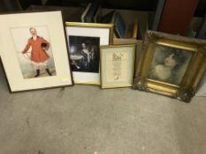 A box of assorted decorative prints