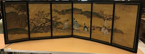 """19TH CENTURY JAPANESE SCHOOL – six section table screen depicting """"Figures in a landscape with Maple"""