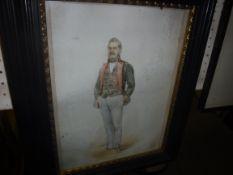 """KARL SCHNORR VON CAROLSFELD """"Gentleman in military jacket"""", a portrait study, watercolour with"""