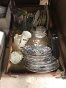 A vintage suitcase containing Royal Stafford part tea service, various modern Chinese plates,