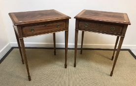 A pair of mahogany and inlaid lamp tables in the Regency taste, the cross-banded tops with moulded