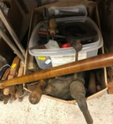 A collection of various 20th Century hand tools including pliers, screwdrivers, various bow and