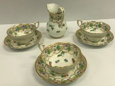 A circa 1900 polychrome and gilt decorated part tea service (maker unknown), retailed by Thomas