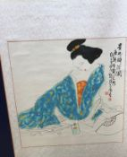 A collection of four 20th Century Chinese scrolls depicting semi-clad ladies in erotic poses