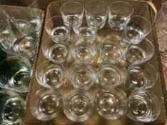 Two boxes of various drinking glasses with bucket-shaped bowls on plain stems to circular feet,