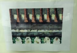 """AFTER MICHAEL POTTER """"Temple roof"""", limited edition colour print No'd. 73/75, signed and titled in"""