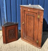 A modern mahogany and cross banded nest of three occasional tables, another similar yew wood