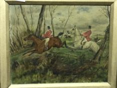"""W. WEBB """"Huntsman on horseback jumping fence"""", oil on board, signed lower right, together with a"""