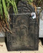 A cast iron fire back with Classical figure decoration, 57.5 cm wide x 91 cm high