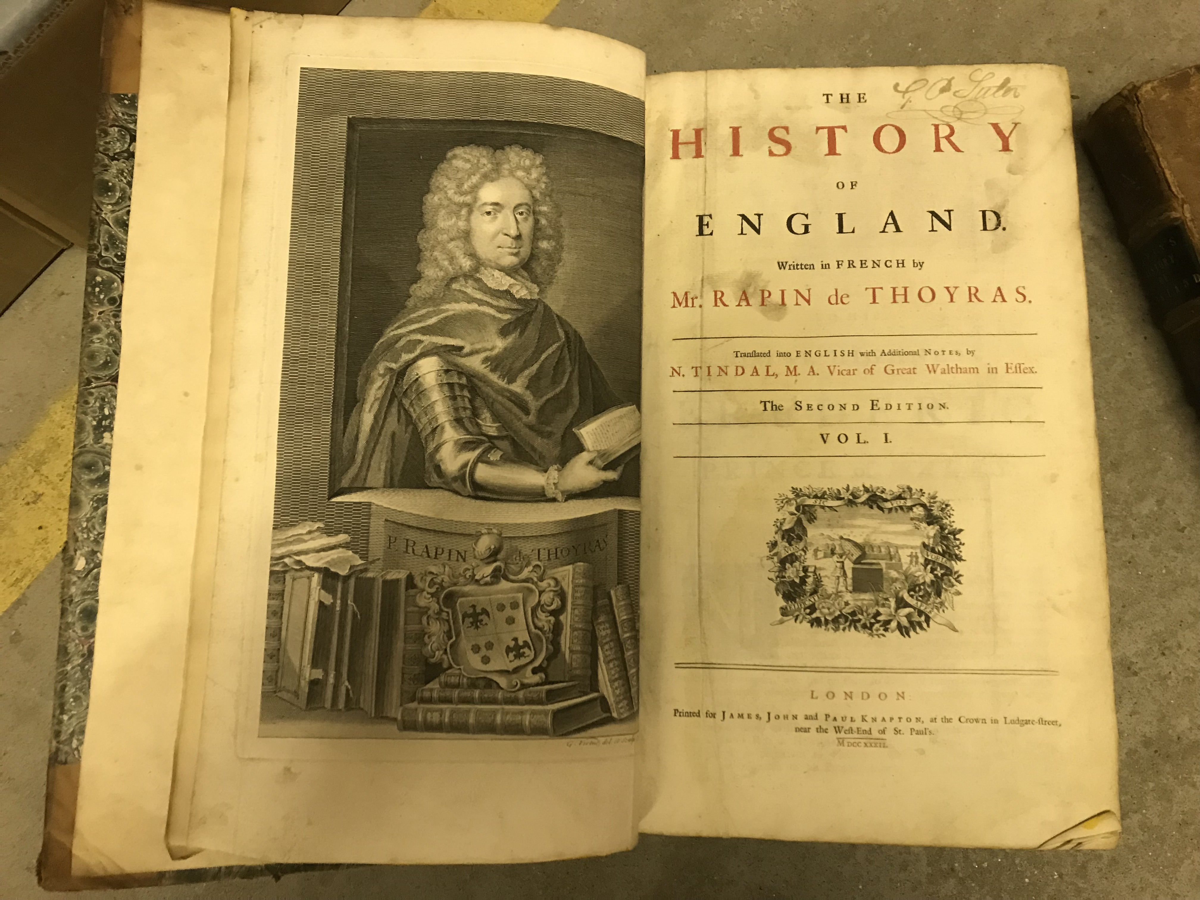 """RAPIN DE THOYRAS """"The History of England"""", second edition, vols I and II, 1732 and 1733, printed - Image 2 of 4"""