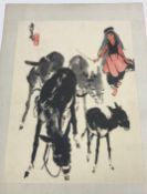 A folder containing approx. 65 various Japanese and other prints and gouache studies