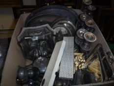 A box containing various plated wares including vegetable tureens and covers, plated salver,