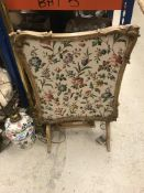 A collection of sundry items to include a fabric covered firescreen, two brass standard lamps,