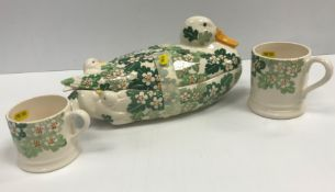 """A collection of Emma Bridgwater """"Green Hawthorn"""" wares to include duck box and cover, circular"""