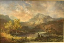 """PRUDENCE TURNER (1930-2007) """"Highland loch scene with stag and doe"""" oil on canvas, signed lower"""