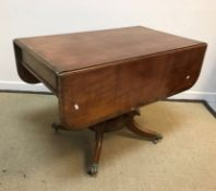 A 19th Century mahogany drop-leaf Pembroke table, the rosewood cross-banded top with moulded edge on