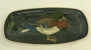 A box of sundry decorative china and metal wares to include a Stuart Bass Exmoor Mallard decorated