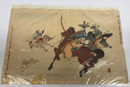 """A collection of four Japanese wood block prints including AFTER ADACHI GINGKO """"Archers on horseback"""""""
