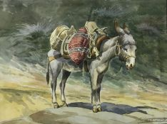 """ENGLISH SCHOOL """"Laden donkey"""", watercolour, indistinctly signed lower right, together with two"""