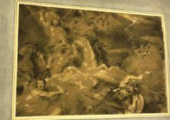 "JAMES STEPHANOFF (1787-1874) ""Neptune"", sepia watercolour, image size approx 28.5 cm x 42.5 cm"