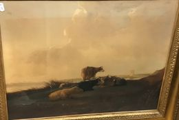 """19TH CENTURY CONTINENTAL SCHOOL IN THE MANNER OF ALBERT CUYP """"Cattle in a landscape with turret in"""