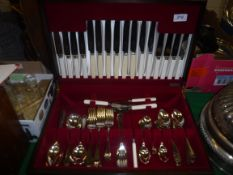 A canteen of cutlery by George Butler of Sheffield, 8 place settings with bone knife handles, in