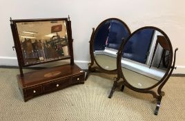 A 19th Century mahogany and inlaid toilet mirror, the rectangular bevel edged plate on square