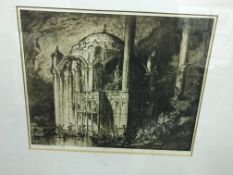 """A collection of prints and engravings to include AFTER FRANK BARNGWYN """"Study of Continental church"""","""
