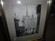 """DINZ """"Street scene with figures"""", monochrome wash, signed lower left, bears old label verso,"""