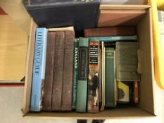 Seven boxes of vintage and modern books on various subjects to include travel, the Royal family,