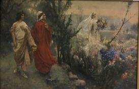 """AFTER SALVATORE POSTIGLIONE """"Dante Virgilio E Matelda"""", Classical scene with figures by lakeside,"""