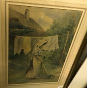 """CATH B GULLEY RWA """"Woman hanging washing, a thatched cottage in background"""", watercolour, heightened"""