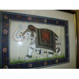 """A box of assorted pictures and prints to include Indian gouache on silk """"Images of elephants"""", AFTER"""