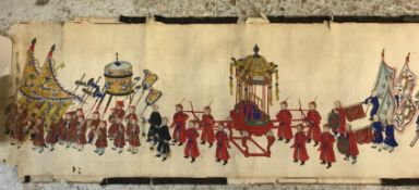 A 19th Century scroll depicting a long procession of numerous figures and various carriages,