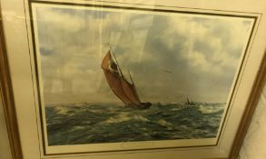 """AFTER JOHN CHANCELLOR """"Thrashing home in a South Westerly"""", limited edition colour print No'd. 667/"""