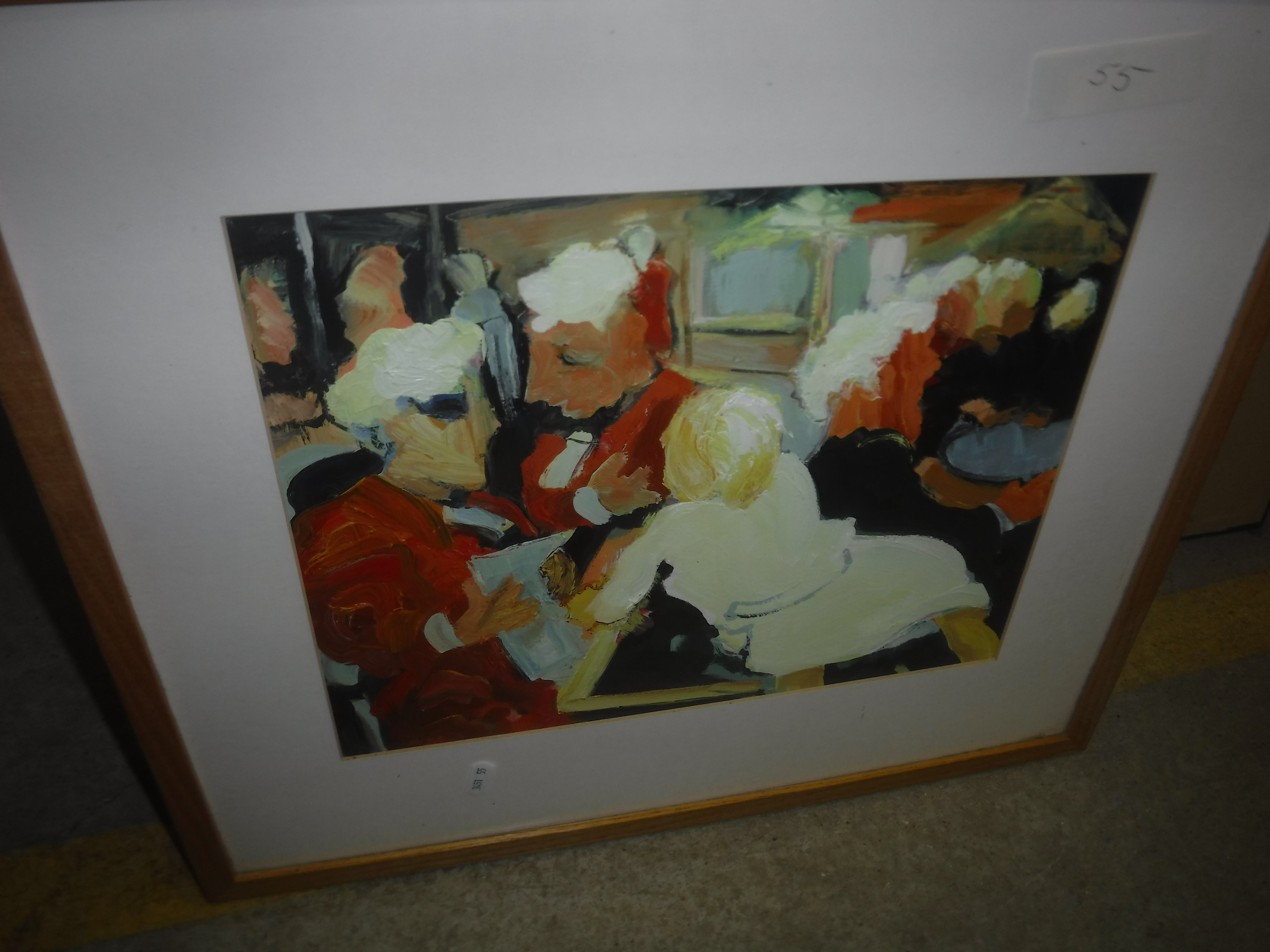 """DINZ """"Street scene with figures"""", monochrome wash, signed lower left, bears old label verso, - Image 2 of 4"""